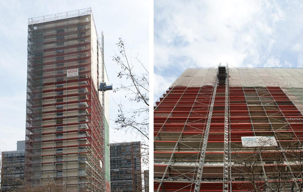 Sonderkonstruktion aus Stahlschwerlastträgern, Fassadengerüst